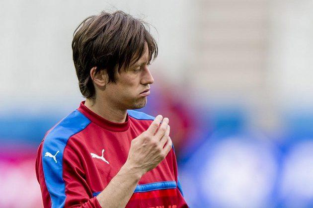 Záložník Tomáš Rosický na tréninku české reprezentace před zápasem s Chorvatskem.