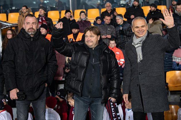 Jaromír Blažek, Martin Frýdek starší a Vítězslav Lavička v rámci oslav 125. výročí založení Sparty před utkáním s Jabloncem.
