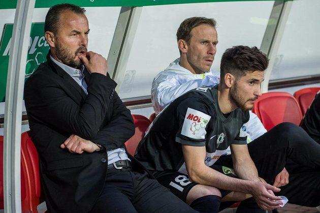 Trenér Jablonce Zdeňko Frťala (vlevo) a Michal Travník ve finále MOL Cupu s Mladou Boleslaví.
