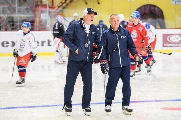 Trenér Miloš Říha (vlevo) a asistent Robert Reichel během tréninku v rámci letního kempu hokejové reprezentace