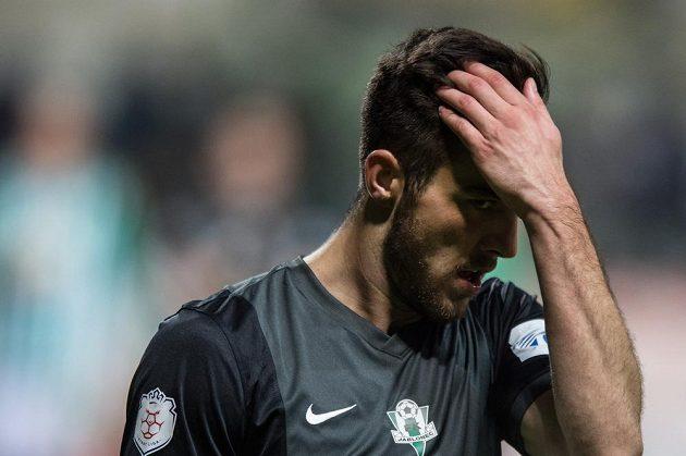 Jablonecký záložník Martin Pospíšil po prohraném zápase ve vršovickém Ďolíčku.
