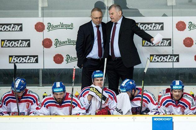 Trenér české reprezentace Vladimír Vůjtek (vpravo) a asistent Jiří Kalous během utkání Euro Hockey Challenge s Německem.