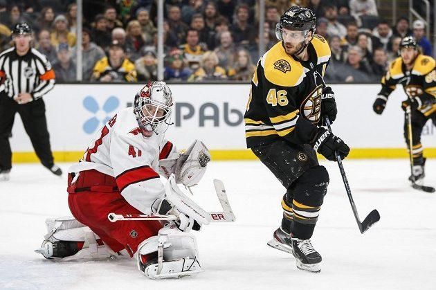 Český hokejový útočník David Krejčí z týmu Boston Bruins chytrou tečí překonal gólmana Caroliny Hurricanes Jamese Reimera (47).