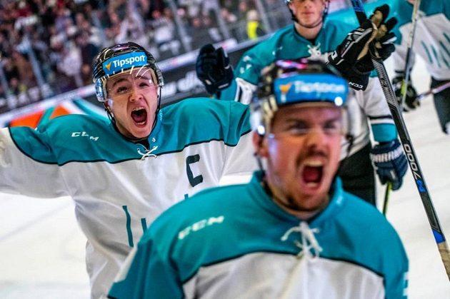 Hokejisté Vysoké školy báňské se radují z jedné z branek.