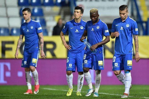 Zklamaní fotbalisté Liberce po vyřazení v poháru.