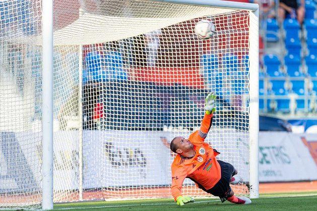 Brankář Českých Budějovic Jaroslav Drobný inkasuje gól z penalty v utkání s Baníkem Ostrava.