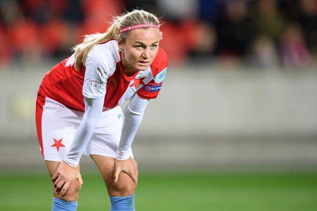 Fotbalistka Simona Necidová ze Slavie Praha během utkání Ligy mistryň, kdy v Edenu vysoko zvítězil slavný Arsenal.