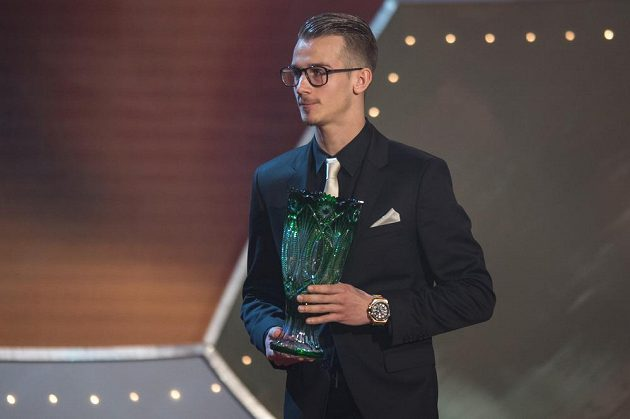 Talent roku Václav Černý během vyhlášení ankety Fotbalista roku 2015.