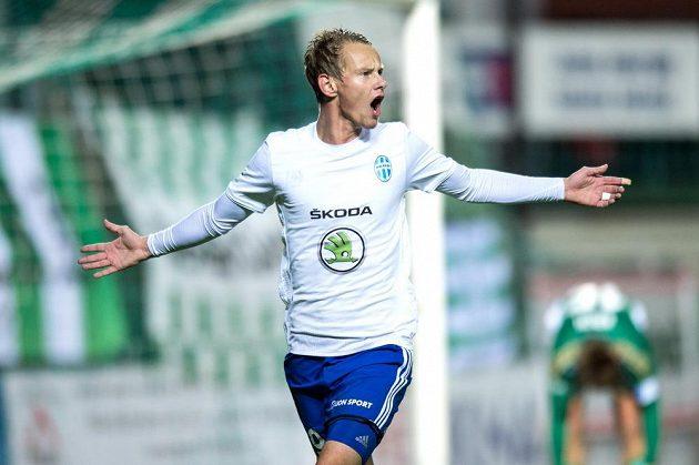 Jan Chramosta z Mladé Boleslavi oslavuje gól proti Bohemians.