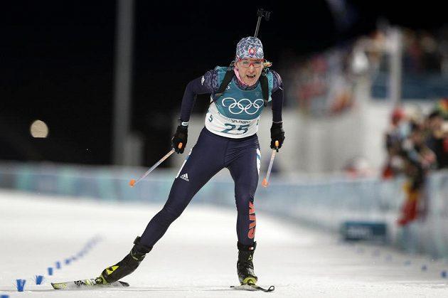 Slovenská závodnice Anastasia Kuzminová v cíli sprintu.