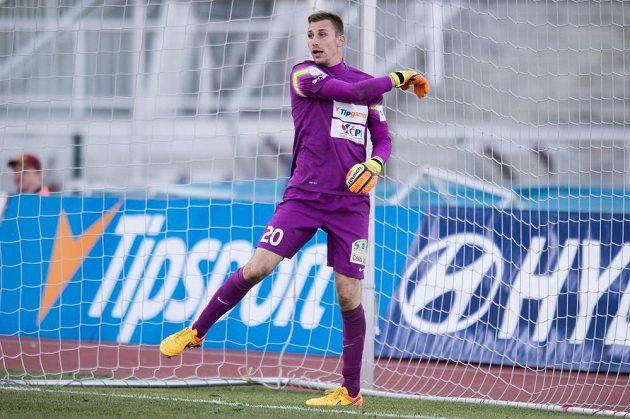 Naštvaný brankář Jablonce Michal Bárta po čtvrtém inkasovaném gólu.