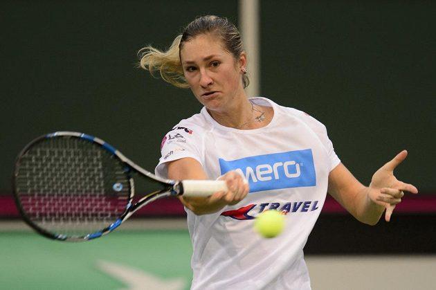 Česká tenistka Denisa Allertová si v úterý zatrénovala před finále Fed Cupu s Ruskem.