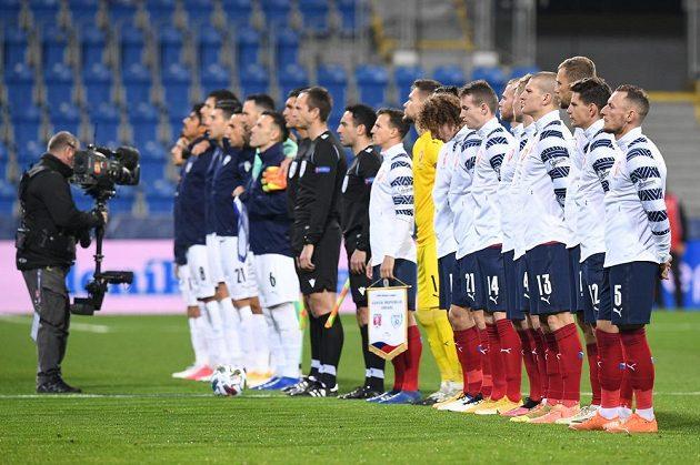 Zahajovací ceremoniál před utkáním Ligy národů mezi Českem a Izraelem.