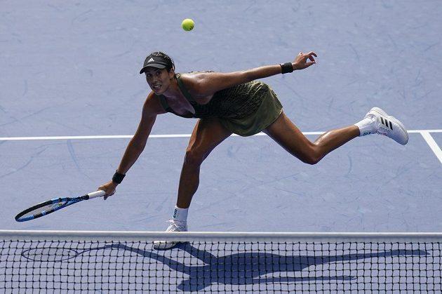Garbiňe Muguruzaová ze Španělska bojuje v utkání 1. kola US Open.