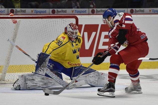 Útočník David Pastrňák před švédským brankářem Viktorem Fasthem.