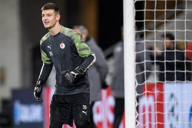 Brankář Slavie Praha Jan Sirotník během tréninku před utkáním Ligy mistrů s Interem Milán.