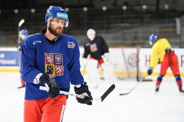 Michal Jordán během tréninku hokejové reprezentace.