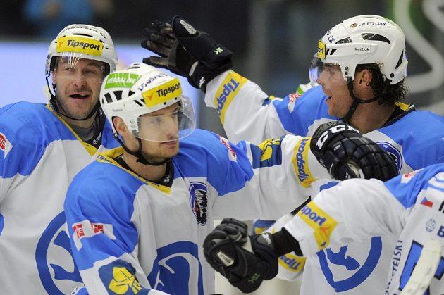 Plzeňští hráči se radují z vítězství nad Třincem.