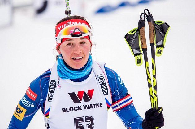 Veronika Vítková v cíli vytrvalostního závodu na MS v Oslu.