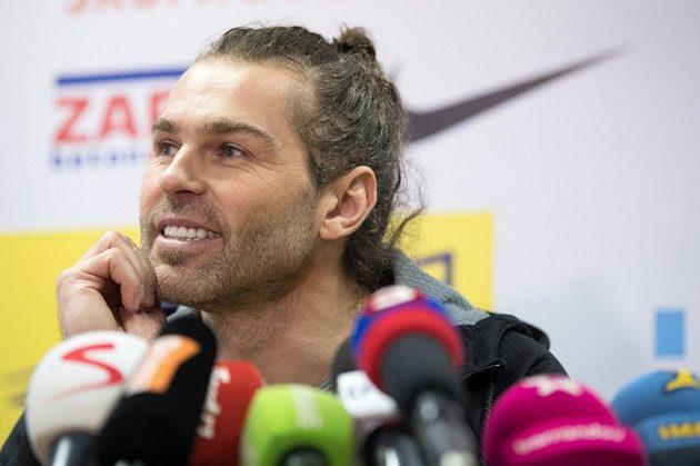 Jaromír Jágr během tiskové konference po návratu na Kladno.
