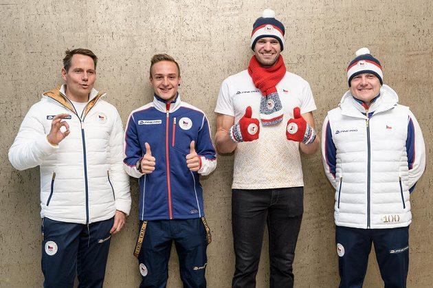 Tomáš Kraus (vlevo), Tomáš Portyk, Ondřej Synek a Martin Doktor v olympijské kolekci pro hry v Pchjongčchangu 2018.