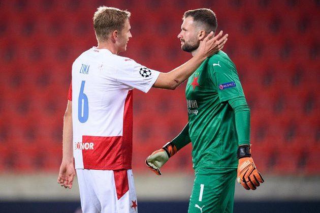 David Zima ze Slavie Praha a brankář Slavie Praha Ondřej Kolář