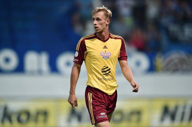 Autor gólu Dukly z penalty Tomáš Berger během duelu v Liberci.