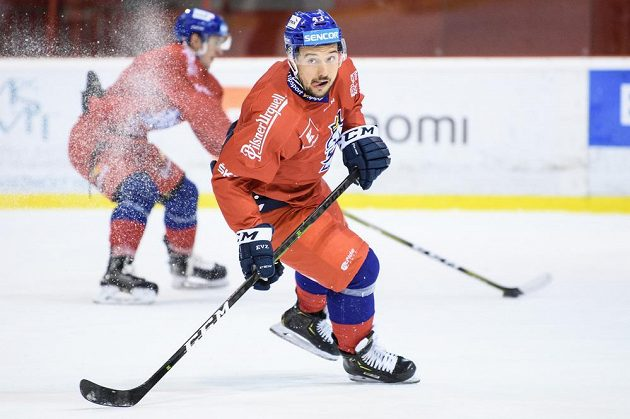 Jan Kovář během tréninku hokejové reprezentace před turnajem Beijer Hockey Games.