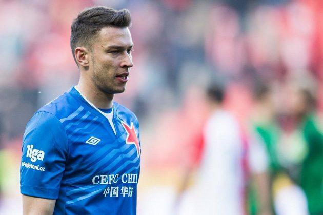 Brankář Slavie Praha Jiří Pavlenka během utkání s Jabloncem.