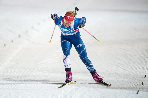 Gabriela Koukalová v cíli sprintu žen na 7,5 km v Novém Městě na Moravě.