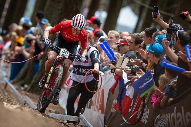 Biker Ondřej Cink při závodě světového poháru v Novém Městě na Moravě.