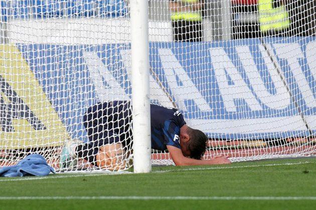 Milan Petržela ze Slovácka v brance po druhém inkasovaném gólu.