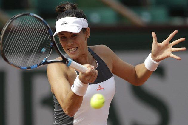 Španělka Garbiñe Muguruzaová při zápase 3. kola French Open.