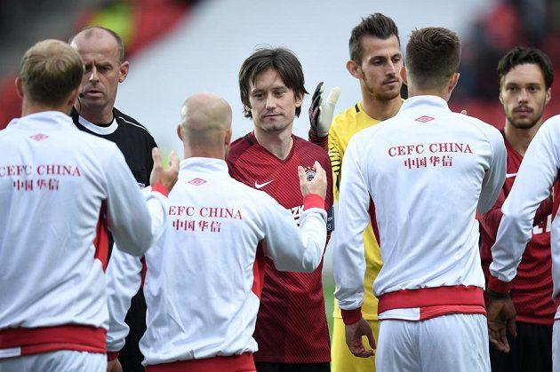Sparťan Tomáš Rosický (uprostřed) před derby se Slavií.