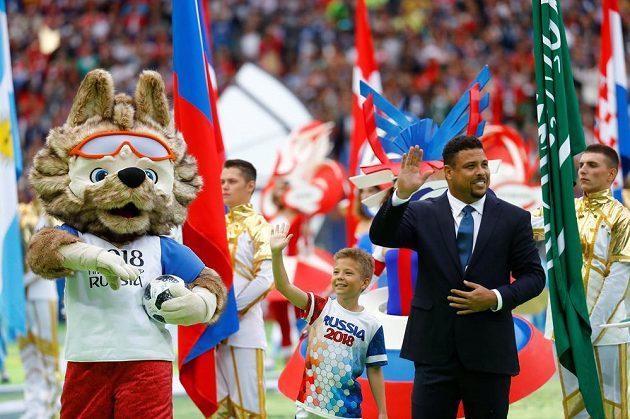 Legendární Brazilec Ronaldo při zahajovacím ceremoniálu MS.