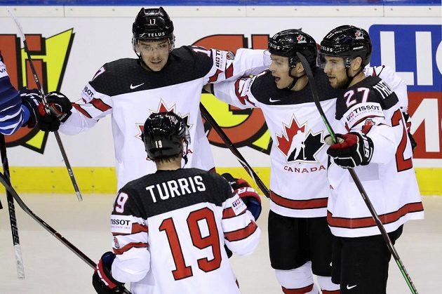Kanadský střelec Jonathan Marchessault a jeho radost po vstřeleném gólu na mistrovství světa.