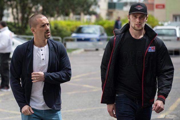 Tomáš Plekanec (vlevo) a Jiří Sekáč na srazu hokejové reprezentace ve Znojmě.