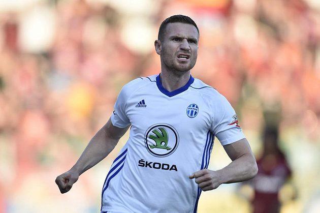 Muris Mešanovič z Boleslavi se raduje z úvodního gólu.