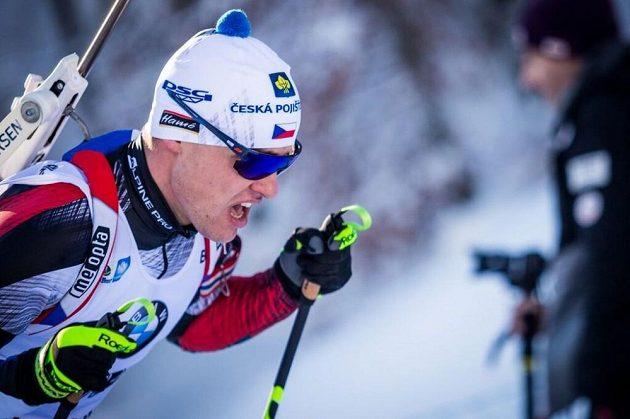Michal Krčmář při sprintu v Ruhpoldingu.