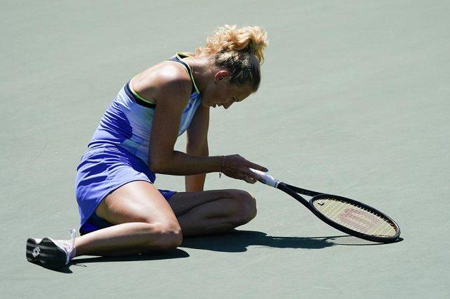 Zklamaná Kateřina Siniaková, právě má za sebou jednu z nejhezčích výměn zápasu.