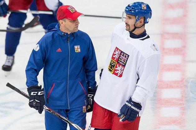 Trenér Josef Jandač a kapitán výběru pro SP Tomáš Plekanec.