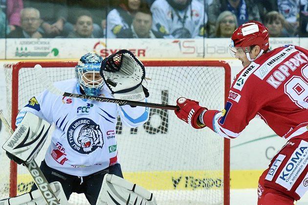 Tomáš Kopecký z Třince se snaží tečovat puk před brankářem Liberce Janem Lašákem.