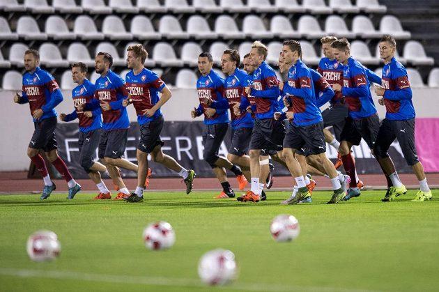 Trénink české fotbalové reprezentace před přípravnými zápasy se Srbskem a Polskem na Strahově.