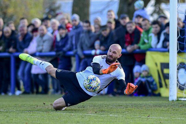 Brankář Chlumce Radek Petr v pohárovém utkání s Plzní.