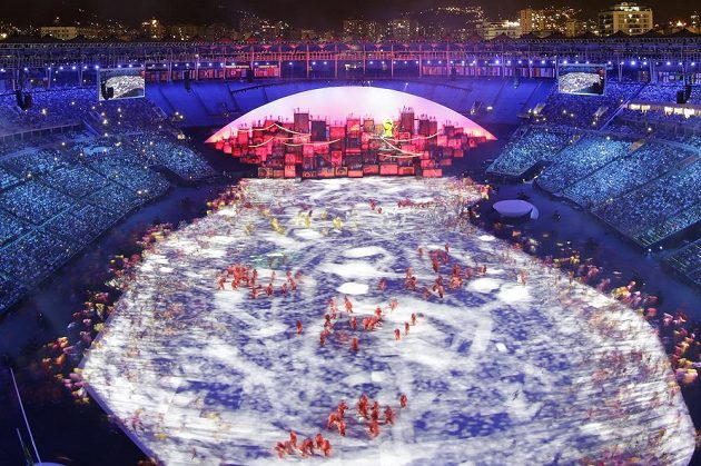Slavnostní zahájení olympijských her v Riu na stadiónu Maracaná.