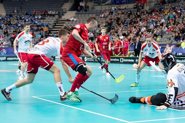 Český útočník Adam Delong a brankář Dánska Mike Trolle během utkání čtvrtfinále MS.