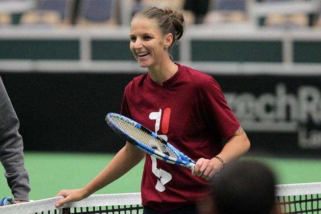 Karolína Plíšková na tréninku českých tenistek v Ostravě.