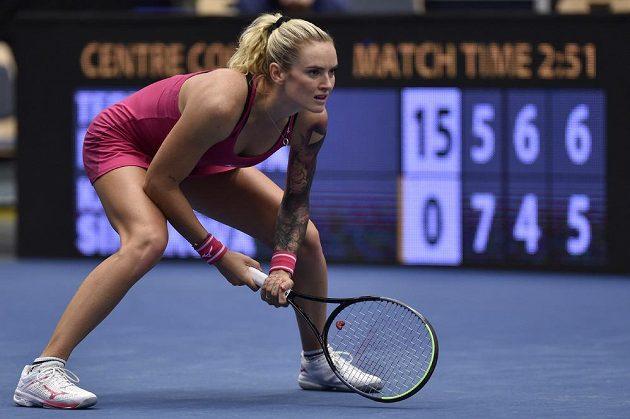 Česká tenistka Tereza Martincová v utkání proti Kateřině Siniakové.