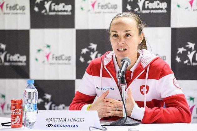 Martina Hingisová během tiskové konference v pražské O2 Areně.
