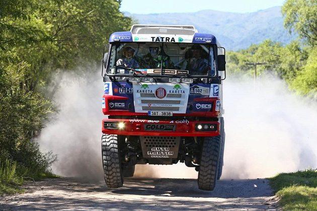 Martin Kolomý s kamiónem Tatra na trati první etapy Rallye Dakar.